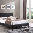 120520 – Espresso Queen Faux Leather Platform Bed