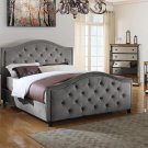 FRA2011 Nicolette Upholstered Velvet Platform Bed (Otter Color)  Queen Size