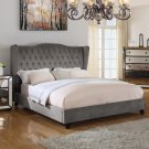 T1803 – Jameson Upholstered Velvet Platform Bed (Otter Color) Queen Size