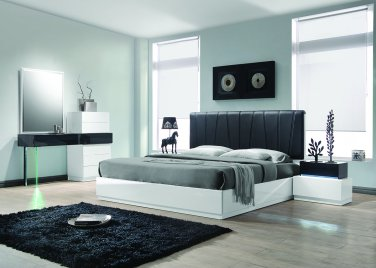 Ireland � Modern White 5 Pcs Lacquer Platform Bedroom Set (Queen)