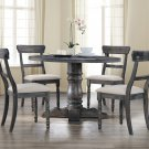 Selena 5 Pcs Round Transitional Dinette Set (Weathered Grey)