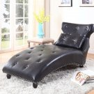 602 – Contemporary Faux Leather Lounge Chaise with Tufted look (Black)