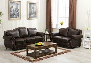 1567 � Transitional Brown Bonded Leather Living Room Set