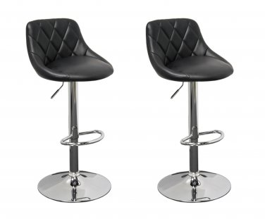 WY523 � Claire 2 Pcs Faux Leather Adjustable Swivel Barstool (Black)