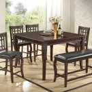 Betty 6 pcs Counter Height Dining Set with Extension and Lazy Susan (Cherry)