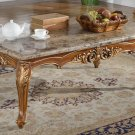 150 – Traditional Marble Living Room Coffee Table (Walnut with Gold Trimmings)