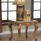 150 – Traditional Marble Living Room End Table (Walnut with Gold Trimmings)