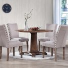 Carey – 5 Pcs Antique Natural Oak Round Dining