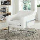 3016 – Modern Living Room Chrome Accent Chair (White)