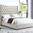 385 – High Profile Natural Upholstered Bed (Queen)