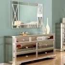 T1830 – Borghese Mirrored 7 Drawer Dresser (Silver Mirrored with Gold Brushing)