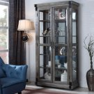 JL40 – Jane Rustic Dark Grey with Glass Shelves Curio