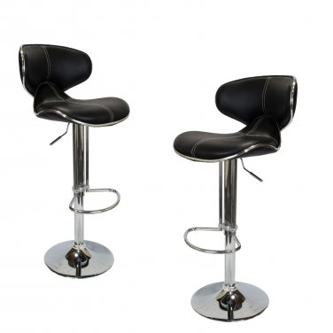 BS27 � Jetson�s Modern Adjustable Swivel Faux Leather 2 Pcs Set Bar Stool (Black )