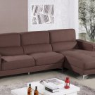 YK15 – Modern 2 Pcs Left Facing Chaise Living Room Sectional (Brown)