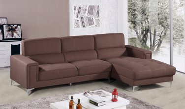 YK15 � Modern 2 Pcs Left Facing Chaise Living Room Sectional (Brown)