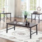 DX700 – Dark Walnut with Black Iron 3 Pcs Coffee Table Set