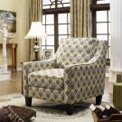 3019 – Tori Upholstered Fabric Living Room Arm Chair (Yellow/ Grey)