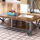 DX500 – Durham Walnut w/ Brushed Grey Iron Coffee Table