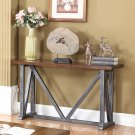 DX500 – Durham Walnut w/ Brushed Grey Iron Sofa Table