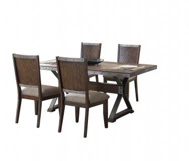 DX1520 � Dark Oak with Marble Center Top 5 Pcs Rectangular Dining Set