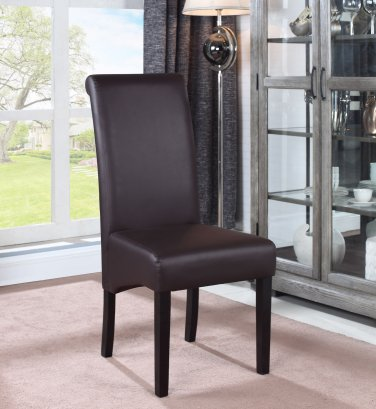 613 � Zander Upholstered Faux Leather Brown Dining Side Chairs ( Set of 2 )
