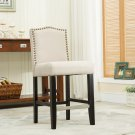 5089 – Lindon 24 Inch Upholstered Beige Bar Stools (Set of 2)