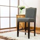 5089 – Lindon 24 Inch Upholstered Dark Gray Bar Stools (Set of 2)