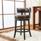 "5090 – Murphy 24"" Inch Faux Leather Swivel Brown Bar Stools (Set of 2)"