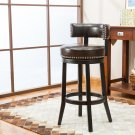 "5090 – Murphy 29"" Inch Faux Leather Swivel Brown Bar Stools (Set of 2)"