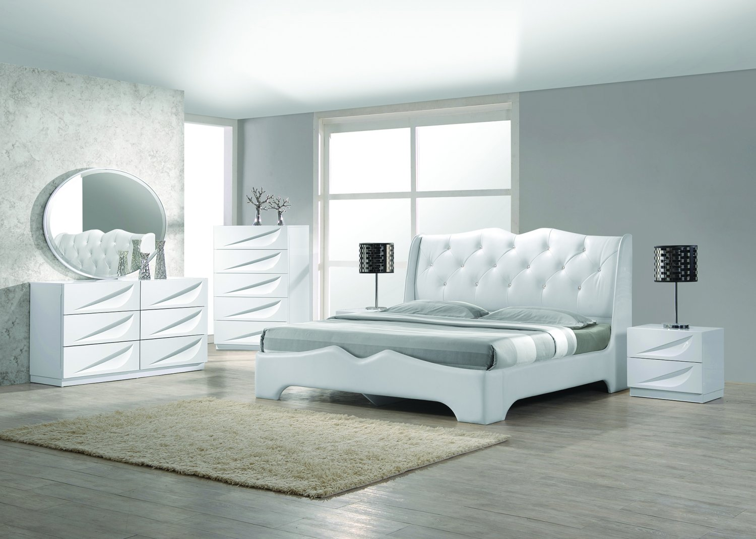 madrid 5 pcs modern off white california king bedroom set. Black Bedroom Furniture Sets. Home Design Ideas