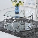 GW119 – Brooke Hexagonal Silver Clear Coffee Glass Table