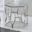 GW119 – Brooke Hexagonal Silver Clear End Glass Table