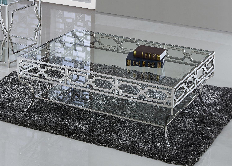 gw120  abigail silver w glass living room coffee table