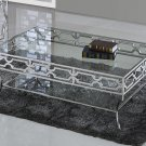 GW120 – Abigail Silver w/ Glass Living Room Coffee Table