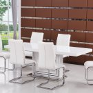 BA207, Modern 5 Piece Dining Set with Butterfly Leaf Extension (White)
