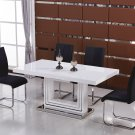 BA207, Modern 5 Piece Dining Set with Butterfly Leaf Extension (Black)