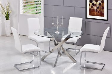 T01, Alison 5 Pieces Modern Dinette Set with Glass Top (White)