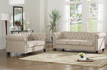 YS001, Venice Upholstered Living Room Sofa and Loveseat (Beige)