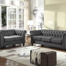 YS001, Venice Upholstered Living Room Sofa and Loveseat (Klein Charcoal)