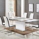 U626, Alaskan 5 Pieces Extendable High Gloss Dining Set (White/Black)