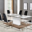 U626, Alaskan 5 Pieces Extendable High Gloss Dining Set (Black/White)