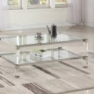 GW122, Monroe Clear Glass with Acrylic Legs Living Room Coffee Table