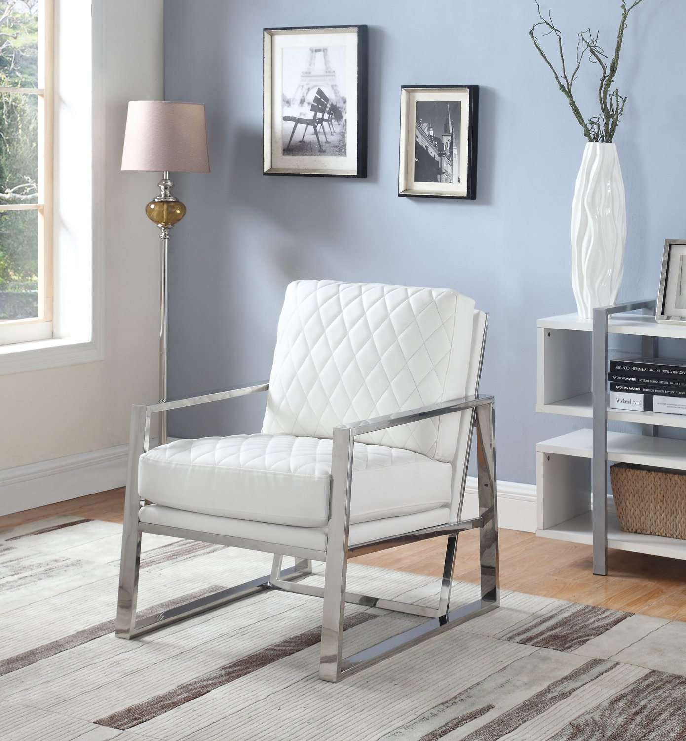 3020, Anniversary Upholstered Faux Leather Stainless Steel Accent Chair  (White)