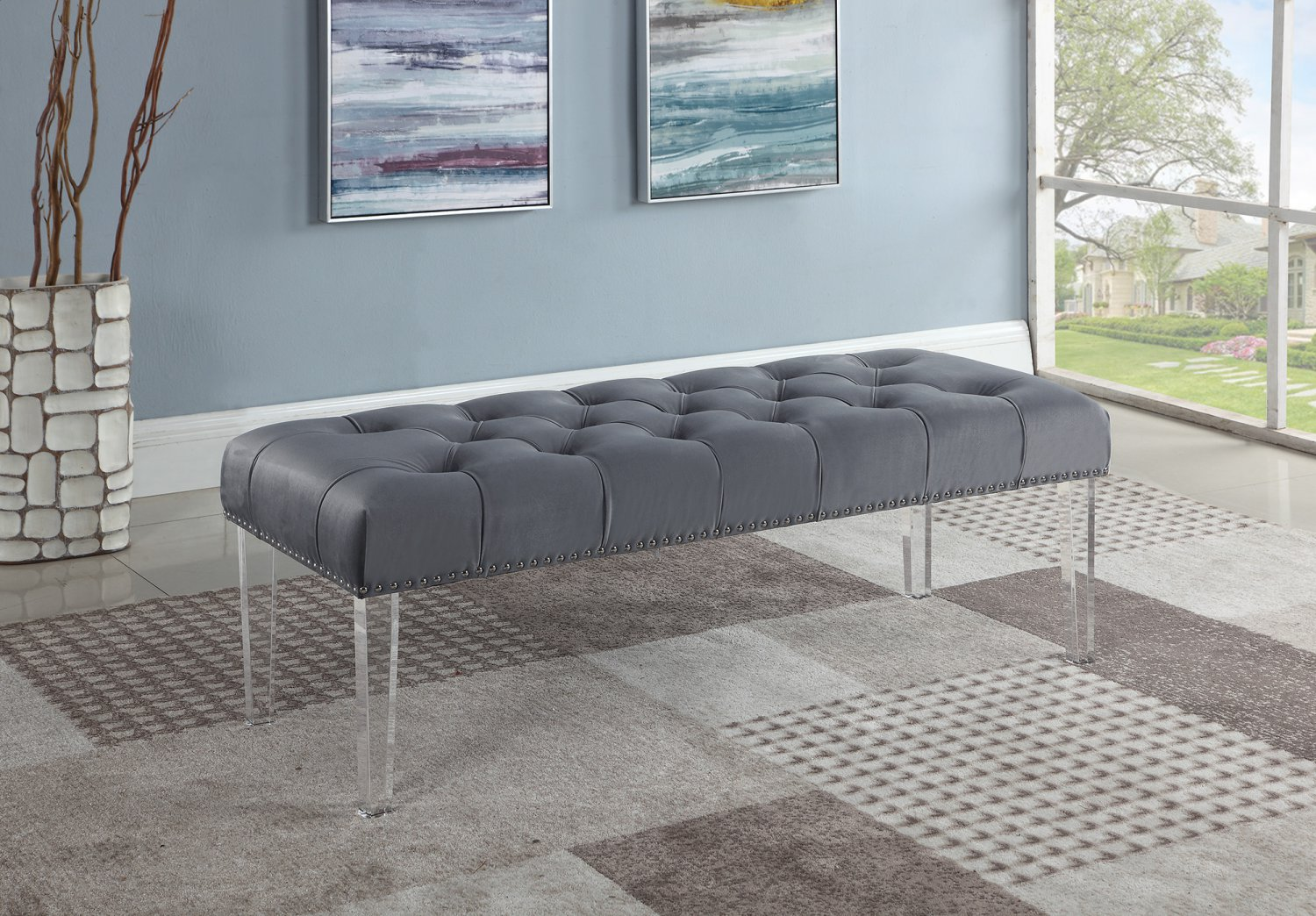 YF07, Suede Upholstered Tufted Bench with Acrylic Legs (Grey)