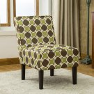 5091, Green and Brown Upholstered Living Room Armless Accent Chair