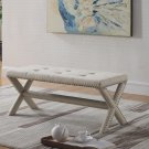 622, Linen Blend Accent Bench with Champagne Nail Heads (Natural)