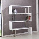 BA201, White Modern 3 Shelf Bookshelf with Chrome