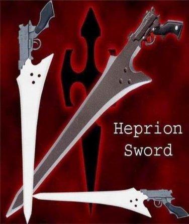 Final Fantasy Heprion Gunblade Sword W / Sheath + Stand