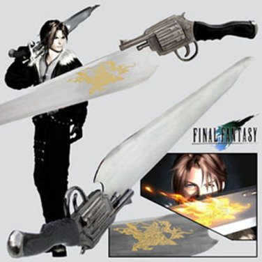 Details about  Final Fantasy LIONHEART GunBlade Sword With Sheath + Wooden Display Stand
