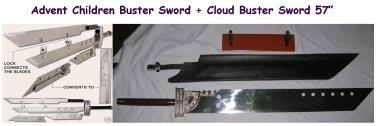 """Advent Children Buster + Cloud Buster Sword 57"""" Swords"""